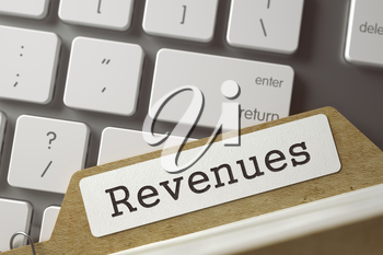 Revenues. Folder Index on Background of Modern Laptop Keyboard. Business Concept. Closeup View. Selective Focus. Toned Image. 3D Rendering.