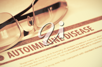 Diagnosis - Autoimmune Disease. Medical Concept on Red Background with Blurred Text and Glasses. Selective Focus. 3D Rendering.