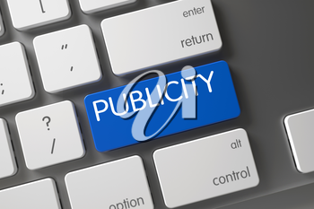 Publicity Concept Laptop Keyboard with Publicity on Blue Enter Key Background, Selected Focus. 3D Illustration.