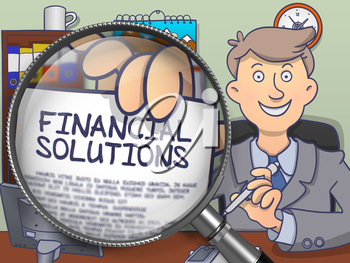 Financial Solutions on Paper in Man's Hand through Magnifier to Illustrate a Business Concept. Multicolor Modern Line Illustration in Doodle Style.