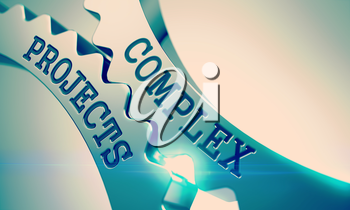 Complex Projects on the Shiny Metal Cog Gears, Communication Illustration with Glow Effect. Complex Projects - Communication Concept. 3D Illustration.