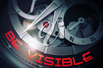 Be Visible on the Face of Luxury Wristwatch, Chronograph Close View. Be Visible - Black and White Close-Up of Wristwatch Mechanism. Time and Work Concept with Glow Effect and Lens Flare. 3D Rendering.