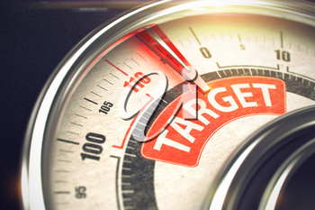 3D of a Balance with Red Needle Pointing the Inscription Target. Business or Marketing Concept. Target - Conceptual Meter with Red Text on It. Horizontal image. 3D Render.