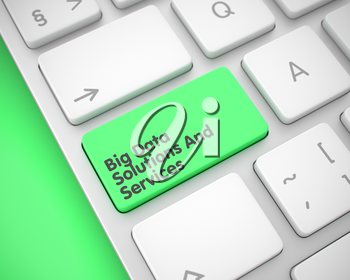 Close Up Green Keyboard Keypad - Big Data Solutions And Services. Modern Laptop Keyboard Key Showing the Text Big Data Solutions And Services. Message on Keyboard Green Button. 3D Illustration.