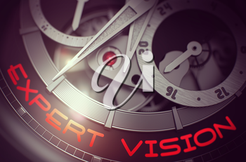 Expert Vision on Face of Men Watch, Chronograph Close Up. Expert Vision - Black and White Closeup of Pocket Watch Mechanism. Business Concept with Glowing Light Effect. 3D Rendering.