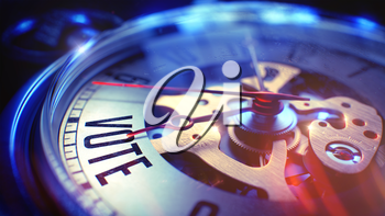 Vintage Pocket Clock Face with Vote Wording on it. Business Concept with Light Leaks Effect. Vote. on Vintage Watch Face with Close Up View of Watch Mechanism. Time Concept. Vintage Effect. 3D Render.