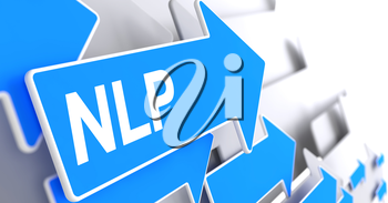 NLP - Blue Pointer with a Inscription Indicates the Direction of Movement. NLP, Message on the Blue Arrow. 3D.
