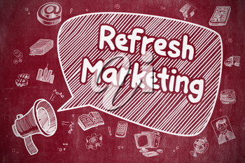 Refresh Marketing on Speech Bubble. Doodle Illustration of Screaming Megaphone. Advertising Concept.
