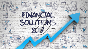 Financial Solutions 2017 - Enhancement Concept with Doodle Design Icons Around on the White Brick Wall Background. Financial Solutions 2017 - Modern Illustration with Doodle Design Elements.