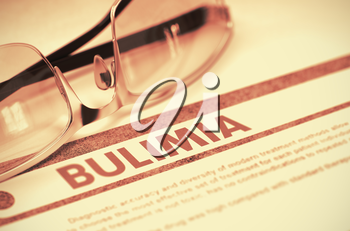 Bulimia - Medical Concept with Blurred Text and Specs on Red Background. Selective Focus. Bulimia - Printed Diagnosis with Blurred Text on Red Background with Glasses. Medical Concept. 3D Rendering.