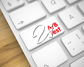 Message on the Keyboard Enter Keypad, for AB Test Concept. Modern Keyboard Button Showing the Inscription AB Test. Message on Keyboard White Button. 3D Illustration.