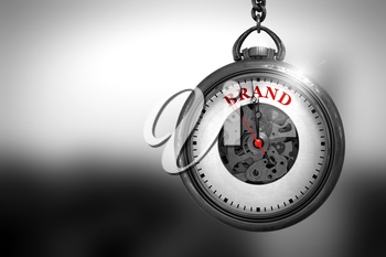 Business Concept: Pocket Watch with Brand - Red Text on it Face. Business Concept: Brand on Vintage Pocket Clock Face with Close View of Watch Mechanism. Vintage Effect. 3D Rendering.