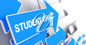 Student Grant - Blue Arrow with a Message Indicates the Direction of Movement. Student Grant, Message on the Blue Cursor. 3D Illustration.