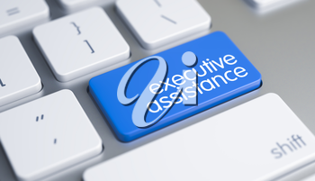 Service Concept with Blue Enter Key on the Modern Keyboard: Executive Assistance. Online Service Concept: Executive Assistance on the Modern. 3D Render.
