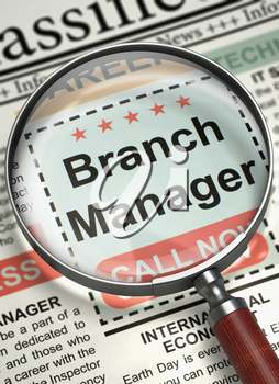 Magnifying Lens Over Newspaper with Searching Job of Branch Manager. Column in the Newspaper with the Vacancy of Branch Manager. Hiring Concept. Selective focus. 3D Render.
