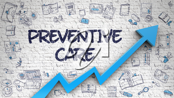 Preventive Care Drawn on White Brick Wall. Illustration with Hand Drawn Icons. Preventive Care Inscription on Modern Line Style Illustation. with Blue Arrow and Doodle Design Icons Around. 3d.