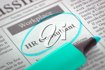 Newspaper with Small Ads of Job Search HR Consultant. Blurred Image with Selective focus. Job Seeking Concept. 3D Illustration.
