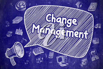 Change Management on Speech Bubble. Cartoon Illustration of Screaming Megaphone. Advertising Concept. Business Concept. Bullhorn with Phrase Change Management. Doodle Illustration on Blue Chalkboard.