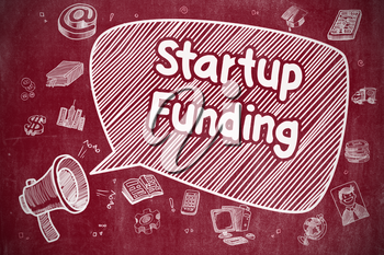 Shouting Megaphone with Text Startup Funding on Speech Bubble. Cartoon Illustration. Business Concept.