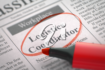 Logistics Coordinator - Jobs Section Vacancy in Newspaper, Circled with a Red Highlighter. Blurred Image. Selective focus. Job Search Concept. 3D Render.