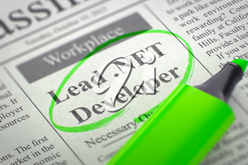 Lead .NET Developer - Job Vacancy in Newspaper, Circled with a Green Highlighter. Blurred Image with Selective focus. Concept of Recruitment. 3D Render.