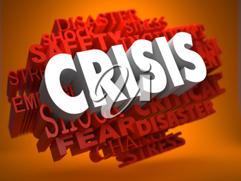 Crisis - the Word in White Color on Cloud of Red Words on Orange Background.