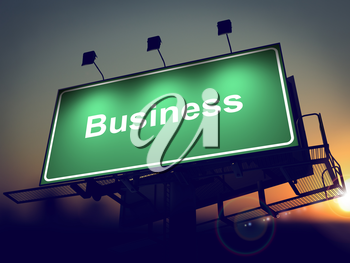 Business - Green Billboard on the Rising Sun Background..