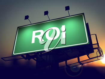 ROI - Green Billboard on the Rising Sun Background.
