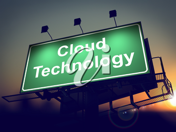 Cloud Tecnology - Green Billboard on the Rising Sun Background.