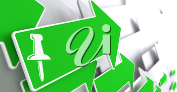 Push Pin Icon on Green Arrow on a Grey Background.