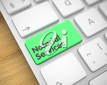 Online Service Concept. Green Button on the Modern Keyboard. Slim Aluminum Keyboard Keypad Showing the InscriptionNotarial Services. Message on Keyboard Green Key. 3D Illustration.