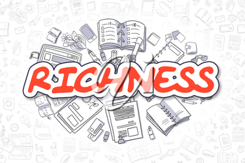 Richness Doodle Illustration of Red Word and Stationery Surrounded by Cartoon Icons. Business Concept for Web Banners and Printed Materials.