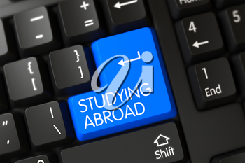 Studying Abroad on Modern Laptop Keyboard Background. 3D Render.
