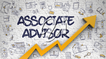 Associate Advisor - Success Concept with Doodle Design Icons Around on Brick Wall Background. Associate Advisor - Modern Style Illustration with Hand Drawn Elements. 3d.