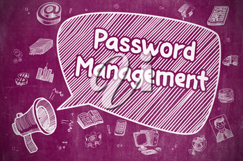 Shrieking Mouthpiece with Phrase Password Management on Speech Bubble. Cartoon Illustration. Business Concept.