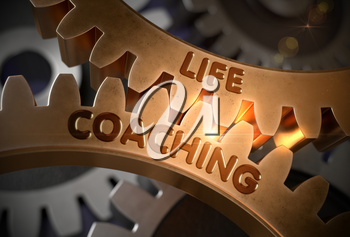 Golden Cogwheels with Life Coaching Concept. Life Coaching on the Mechanism of Golden Gears with Lens Flare. 3D Rendering.