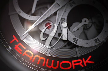 Teamwork on the Face of the Men Wristwatch Close View in Black and White. Toned Image. Elegant Wrist Watch with Teamwork on the Face, Symbol of Time. Business Concept with Lens Flare. 3D Rendering.