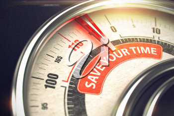 Shiny Metal Scale with Red Punchline Reach the Save Your Time. Illustration with Depth of Field Effect. 3D Render.