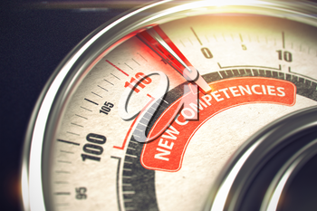 3D Render of a Speedmeter with Red Needle Pointing the Caption New Competencies. Business Concept. 3D Render.