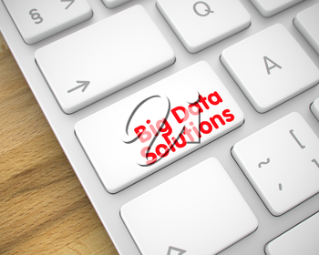 Big Data Solutions Written on White Button of Modern Computer Keyboard. Conceptual Keyboard Keypad Showing the InscriptionBig Data Solutions. Message on Keyboard White Button. 3D Illustration.