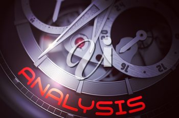 Analysis on Luxury Men Watch, Chronograph Closeup. Analysis - Black and White Close View of Watch Mechanism. Time and Business Concept with Glow Effect and Lens Flare. 3D Rendering.