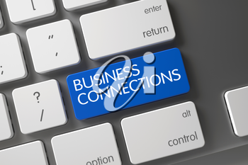 Business Connections Concept: Aluminum Keyboard with Business Connections, Selected Focus on Blue Enter Keypad. 3D.