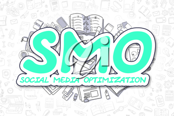 Smo - Social Media Optimization Doodle Illustration of Green Inscription and Stationery Surrounded by Doodle Icons. Business Concept for Web Banners and Printed Materials.