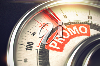 Promo Rate Conceptual Balance with Text on the Red Label. Business or Marketing Concept. Promo - Red Label on Conceptual Speed Meter with Needle. Business or Marketing Mode Concept. 3D Illustration.