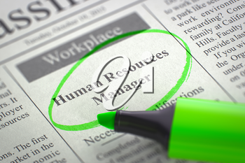 Human Resources Manager - Classified Advertisement of Hiring in Newspaper, Circled with a Green Marker. Blurred Image. Selective focus. Job Search Concept. 3D Rendering.