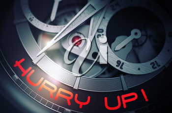 Old Watch Machinery Macro Detail and Inscription - Hurry Up. Hurry Up - Black and White Close View of Wristwatch Mechanism. Time Concept Illustration with Glow Effect and Lens Flare. 3D Rendering.