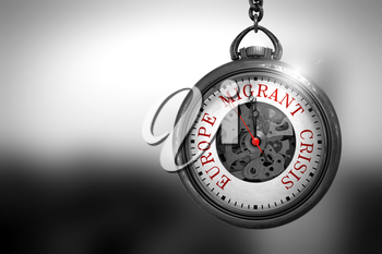 Europe Migrant Crisis Close Up of Red Text on the Pocket Watch Face. Business Concept: Pocket Watch with Europe Migrant Crisis - Red Text on it Face. 3D Rendering.