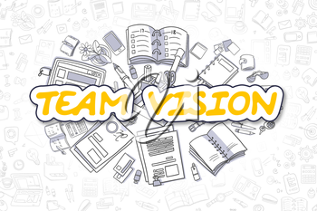 Yellow Inscription - Team Vision. Business Concept with Doodle Icons. Team Vision - Hand Drawn Illustration for Web Banners and Printed Materials.
