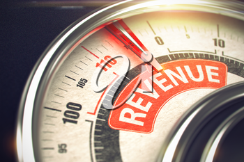 Speed Meter with Red Needle Pointing the Inscription Revenue on the Red Label. Conceptual Illustration of a Dial with Red Needle Pointing to Maximum of Revenue. Horizontal image. 3D.