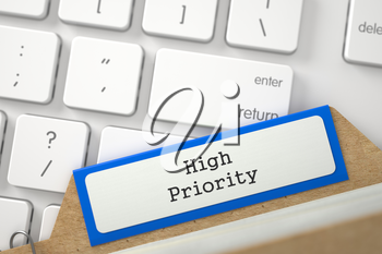 High Priority written on Orange Folder Index Lays on White Modern Computer Keypad. Close Up View. Selective Focus. 3D Rendering.
